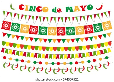 Cinco de Mayo celebration set of colored flags, garlands, bunting. Flat style, isolated on white background. Vector illustration, clip art