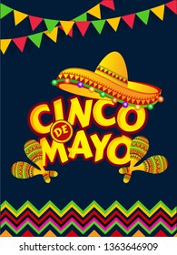 Cinco De Mayo celebration template or flyer design decorated with sombrero hat and maracas instrument illustration.