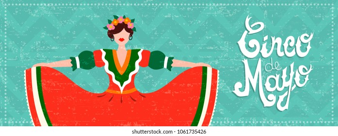 Cinco de mayo celebration web banner. Girl dressed in traditional mexican dress with hair flowers and typography quote. EPS10 vector.