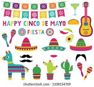 Cinco de Mayo colorful party set (banner, sombreros, pinata, cacti, a guitar)