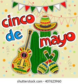 Cinco de Mayo design elements. Vector mexican stickers