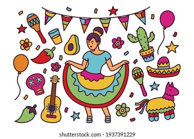 Cinco De Mayo Doodle Illustration