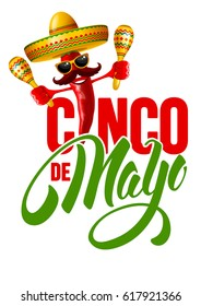 Cinco de Mayo emblem design with hand drawn calligraphy lettering, and cheerful red pepper jalapeno in sombrero and with maracas. Isolated on white background. Vector illustration.