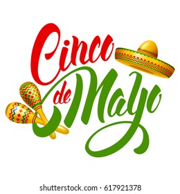 Cinco de Mayo emblem design with hand drawn calligraphy lettering, sombrero and maracas - symbols of holiday. Isolated on white background. Vector illustration.