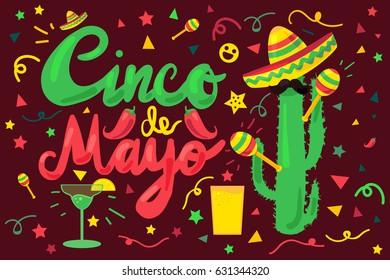 Cinco De Mayo Festival Banner from chili, confetti, cactus, mustache and margarita, sombrero and maraca. Festival Poster. Vector
