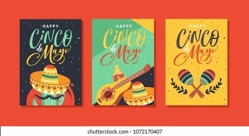 Cinco de Mayo Festival greeting cards design with guitar, sombrero, maracas, cactus, jalapeno, tequila and hand written text.
