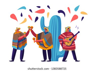 Cinco De Mayo Festival with Group of Mexican Men in Colorful Poncho and Sombrero Playing Guitar and Maracas Celebrating National Folk Music Holiday. Artists Musicians Cartoon Flat Vector Illustration