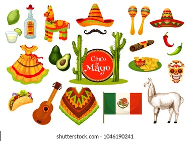 Cinco de Mayo festival icon set of mexican holiday fiesta party symbol. Sombrero hat, maracas, chili and jalapeno pepper, tequila margarita, pinata and Mexico flag, guitar, skull and festive food