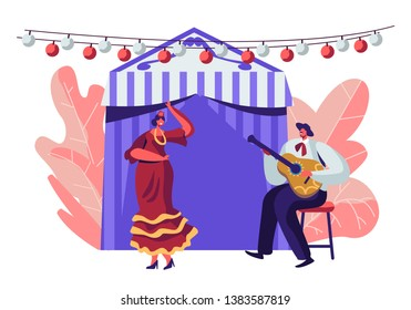 Cinco De Mayo Festival of Latin Folk Music Celebration. Mexican Girl in Traditional Dress Dance at Music Playing with Guitarist in Sombrero near Decorated Fairy Tent. Cartoon Flat Vector Illustration