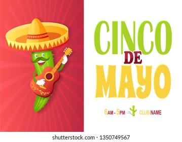 Cinco de Mayo festival, Mexican cactus in sombrero vector invitation card. Plant with mustache and guitar, Mexico symbol, mariachi and musical instrument