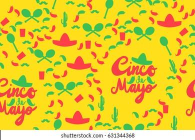Cinco De Mayo Festival Seamless Pattern from chili, confetti, cactus, mustache and margarita, sombrero and maraca. Festival Poster. Vector