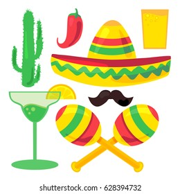 Cinco De Mayo Festival Set from chili, confetti, cactus, mustache and margarita, sombrero and maraca. Vector