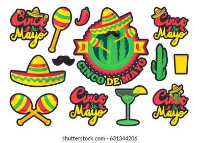 Cinco De Mayo Festival Stickers Set from chili, confetti, cactus, mustache and margarita, sombrero and maraca. Festival Poster. Vector