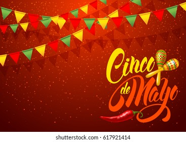 Cinco de Mayo festive greeting card design template with calligraphy lettering, red pepper jalapeno and maracas - symbols of holiday. Vector illustration.