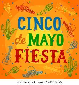 Cinco de Mayo Fiesta background with sombrero, maracas, cuatro and cactus