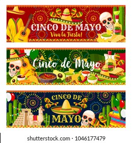 Cinco de Mayo fiesta celebration banners of tequila, jalapeno pepper or cactus and guitar. Vector traditional burrito and guacamole avocado for 5 May Cinco de Mayo Mexican holiday greeting card design