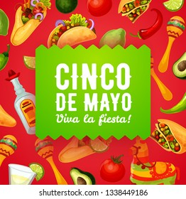 Cinco de Mayo fiesta food and drinks vector greeting card of Mexican holiday design. Maracas, pinata and chilli peppers, tequila, margarita and lime, tacos, burritos and avocado, tomato and jalapeno