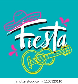 Cinco de Mayo Fiesta hand drawn lettering with decoration elements (guitar, sombrero hat) in grunge style. Mexican holiday, Fiesta party, carnival. For poster, banner, logo, icon,greeting card