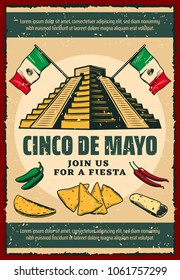 Cinco de Mayo fiesta party invitation poster for mexican holiday. Ancient aztec pyramid with Mexico flag, chili pepper and jalapeno, taco, nacho and burrito retro banner for Puebla Battle anniversary