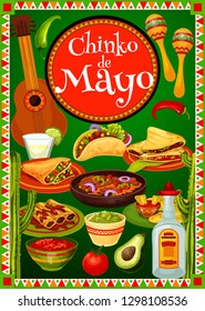 Cinco de Mayo fiesta party food and drink of Mexican holiday vector design. Guitar, maracas and cactus, tequila margarita, chilli pepper and tacos with avocado guacamole and tomato sauce greeting card