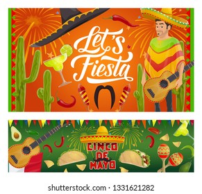 Cinco de Mayo fiesta party vector invitations with Mexican guitars, sombrero and mariachi maracas. Latin American holiday tequila margarita, cactus and chilli, tacos, nachos and avocado with fireworks