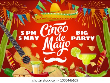 Cinco de Mayo fiesta party food and drink vector design of Mexican holiday invitation. Sombrero, guitar and cactus, tequila margarita, chilli and lime, mariachi mustache, tacos, nachos and bunting