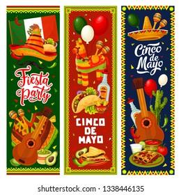 Cinco de Mayo fiesta party vector invitation banners of Mexican holiday design. Sombrero, guitar and maracas, cactus, pinata and tequila, chilli tacos, margarita and nachos, avocado, lime and balloons