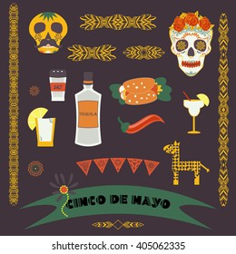Cinco de Mayo (fifth of May). Vector illustration with traditional Mexican symbols, national elements - tequila, taco, skull, borders, banner. Travel to Mexico icons for cards and web pages. Isolated.
