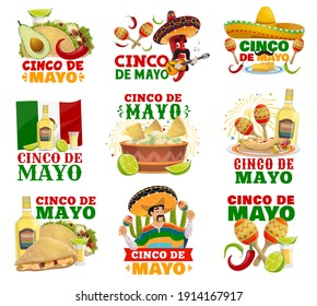 Cinco de Mayo food, sombrero, maracas vector icons of Mexican holiday fiesta. Chilli pepper and mariachi characters with Mexico flag, cactuses, tequila and tacos, burrito, guacamole and quesadillas