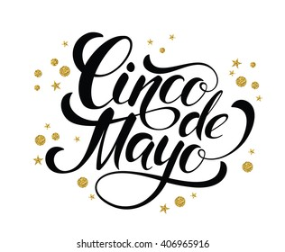 Cinco de Mayo glittering lettering design. Vector illustration