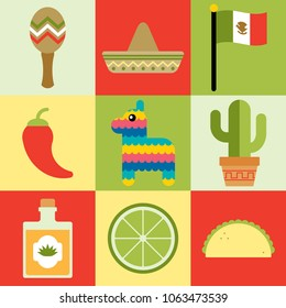 Cinco De Mayo graphic icon set. Cute, fun and colorful design assets.