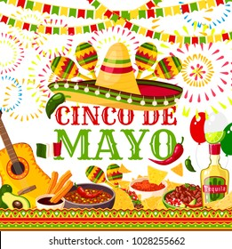 Cinco de Mayo greeting card for Mexican holiday or fiesta party celebration of jalapeno pepper, sombrero and tequila or maracas. Vector traditional Cinco De Mayo holiday Mexican food and flag symbols