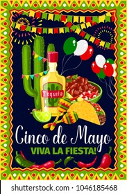 Cinco de Mayo greeting card for Mexican holiday fiesta celebration. Vector design of traditional Mexico symbols of jalapeno pepper and cactus tequila, tacos and balloons for Cinco de Mayo party