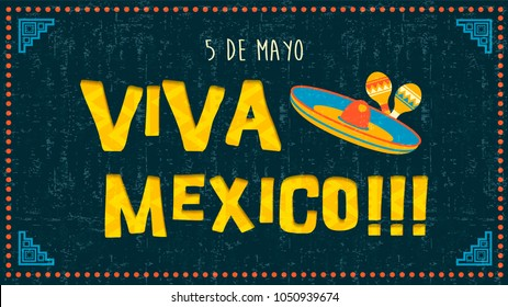 Cinco de mayo greeting card illustration for special mexican celebration event. Latin culture party design with mariachi decoration and vintage background. EPS10 vector.