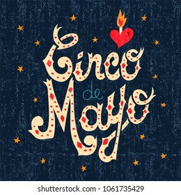 Cinco de Mayo greeting card illustration of traditional mexican style typography art for mexico party or celebration event. EPS10 vector.