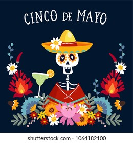 Cinco de Mayo greeting card, invitation with Mexican skeleton with sombrero hat drinking margarita cocktail, chili peppers and decorative folklore flowers. Ornamental floral frame pattern, flat design
