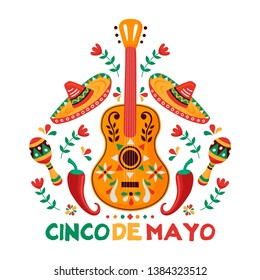 Cinco de Mayo greeting card for Mexican independence celebration. Traditional mariachi guitar and mexico culture decoration. Includes maracas, hat, chili peppers.