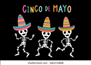 Cinco de mayo greeting card with cute skeleton and colourful hat. Holiday cartoon character. -Vector