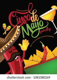 Cinco de Mayo hand drawn lettering with festive straw sombrero party background. For celebration on the fifth (cinco) of May (Mayo). EPS10 vector illustration.