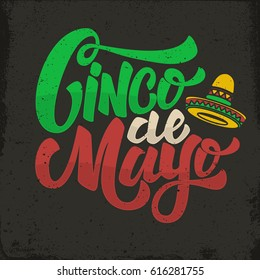 Cinco De Mayo Hand Drawn Lettering Phrase In Grunge Background Design Element For Poster