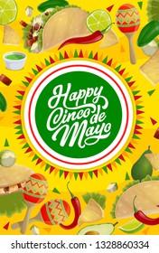 Cinco de Mayo holiday maracas and Mexican fiesta party food vector greeting card. Chilli, avocado and jalapeno pepper, tacos, nachos and corn tortilla, guacamole and lime, Latin American Puebla Battle