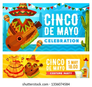 Cinco de Mayo holiday mariachi costume party vector invitations. Mexican fiesta sombrero, guitar and maracas, tequila, margarita, cactus and lime, Latin American festival dress and bunting garland