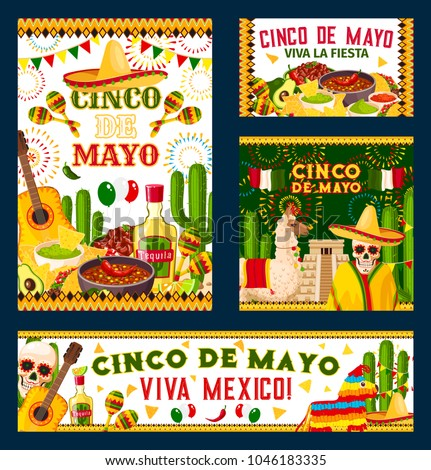 Cinco De Mayo Holiday Poster For Mexican Fiesta Party Design Festive Food Pepper