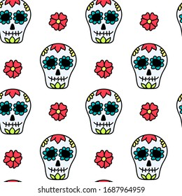 Cinco de Mayo holiday seamless pattern with skulls