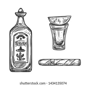 Cinco de Mayo holiday sketches of Mexican fiesta party tequila, lime and cigar. Vector bottle and shot glass of agave cactus alcohol drink and rolled tobacco leaves. Puebla Battle anniversary design