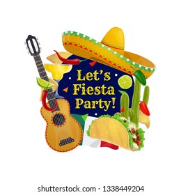 Cinco de Mayo holiday vector greeting card with Mexican sombrero and guitar. Fiesta party tequila margarita, cactus and flag of Mexico, chilli tacos, nachos and lime, jalapeno pepper and mariachi hat
