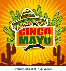 Cinco De Mayo icon/design element, Cactus plants in desert sunset