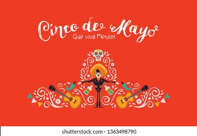 Cinco de Mayo illustration for Mexican independence celebration. Traditional hat shape made of mexico culture decoration. Includes mariachi, hot pepper, guitar and skeleton skull.