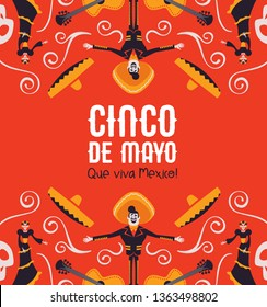 Cinco de Mayo illustration for Mexican independence celebration. Colorful cartoon background of traditional mexico culture decoration. Includes mariachi, big hat, guitar and skeleton skull.