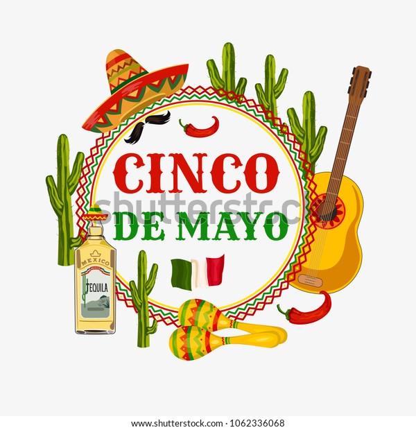 Cinco de Mayo. Illustration to the traditional Mexican holiday. Cactus, sombrero, maracas. Postcard, poster.